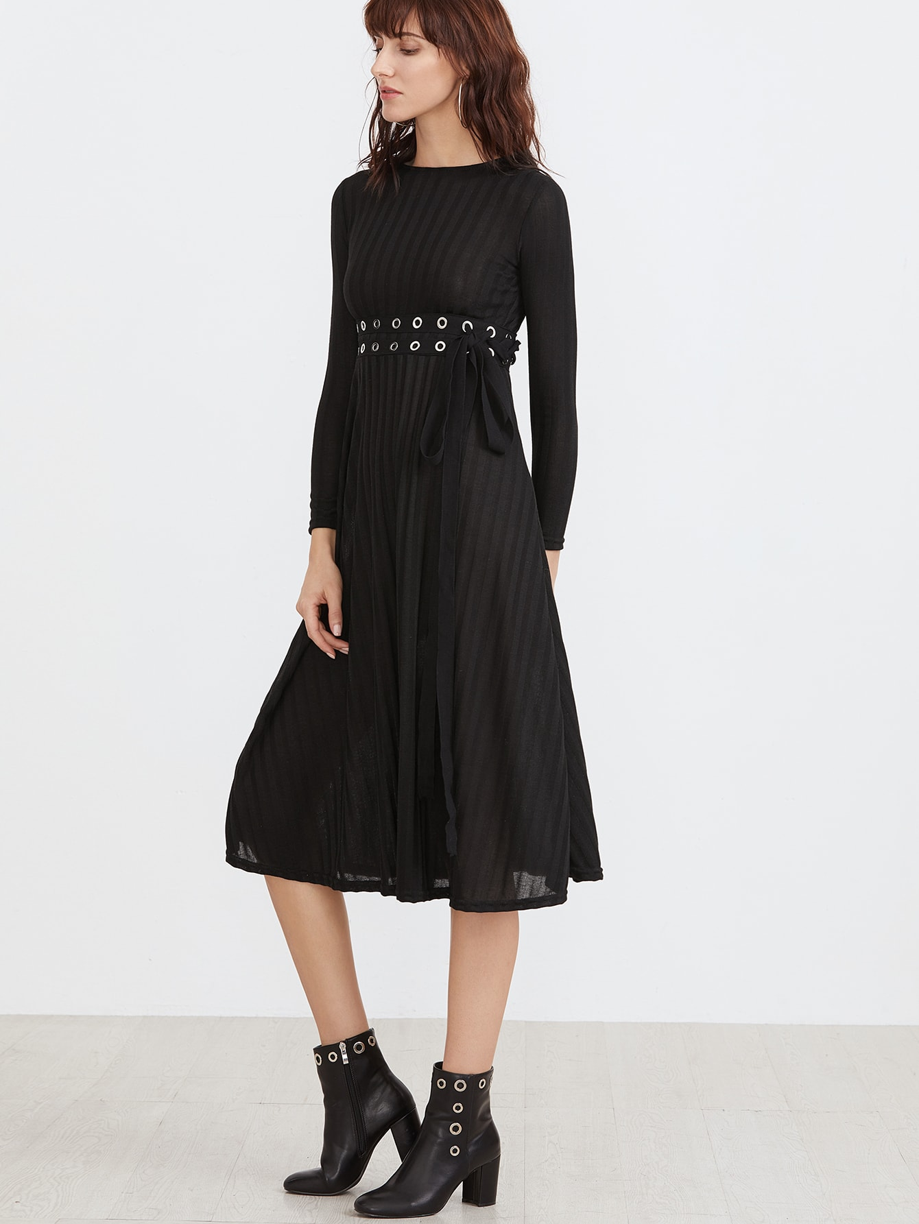 3ff1e85c46a Black Eyelet Lace Up Zipper Back Dress -SheIn(Sheinside)