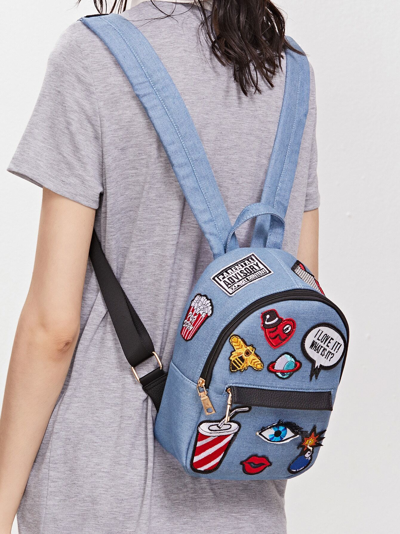 778f73c77f Light Blue Zip Front Cartoon Patch Mini Backpack -SheIn(Sheinside)