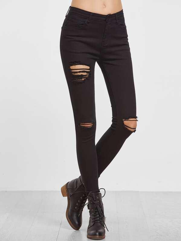Skinny Jeans mit Zerrissen Design-schwarz- German SheIn(Sheinside) c6bcf56199