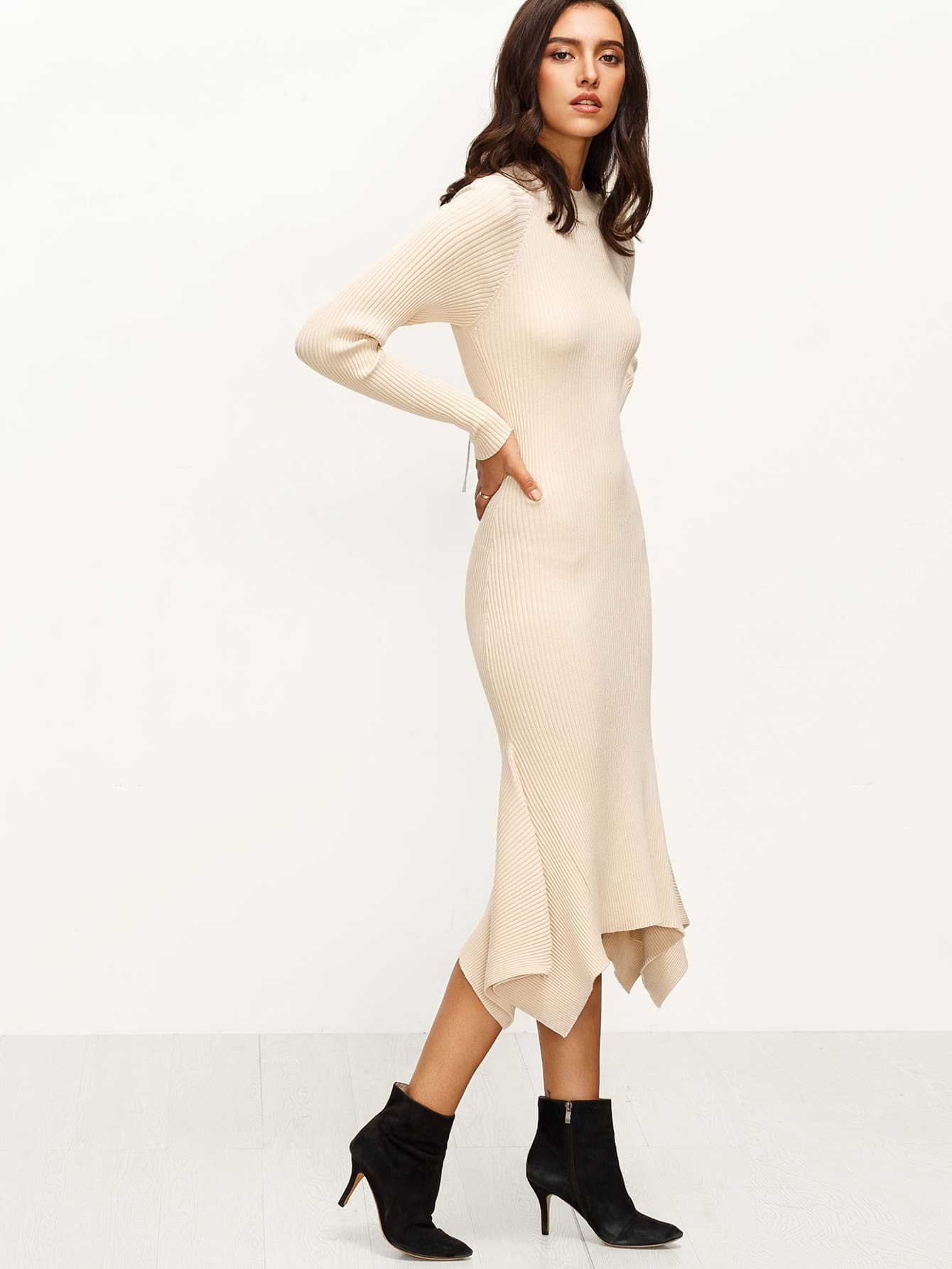 Apricot Ribbed Knit Cutout Lace Up Back Asymmetric Dress