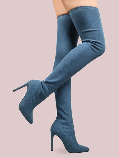 Stiletto Denim Thigh High Boots DENIM