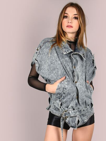 Acid Washed Biker Vest Jacket LIGHT BLUE