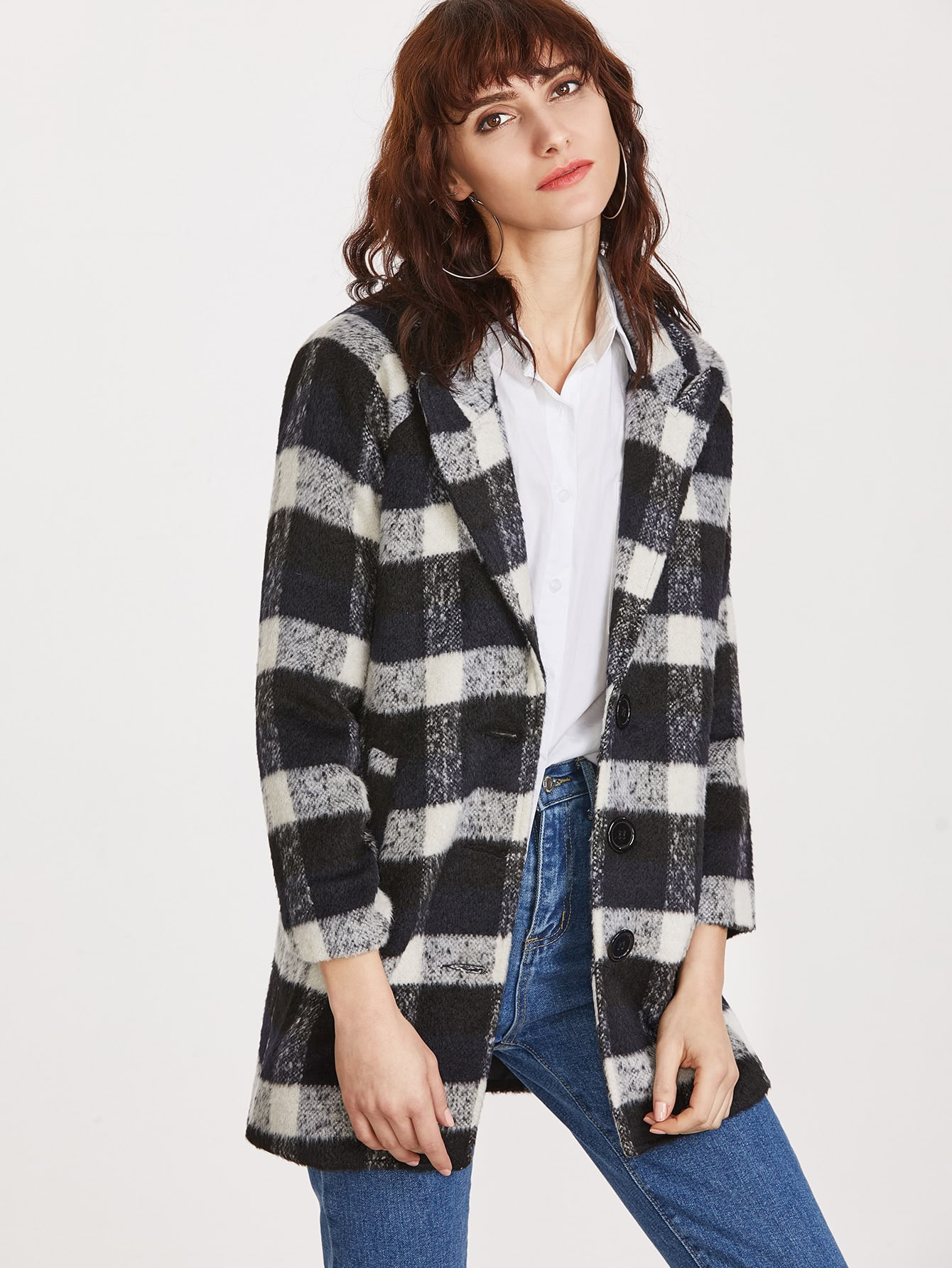 Black Plaid Peak Collar Single Breasted Coat