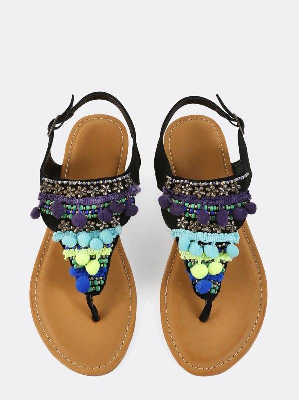 f0858dbcefca08 Faux Suede Beaded Pom Sandals BLACK -SHEIN(SHEINSIDE)