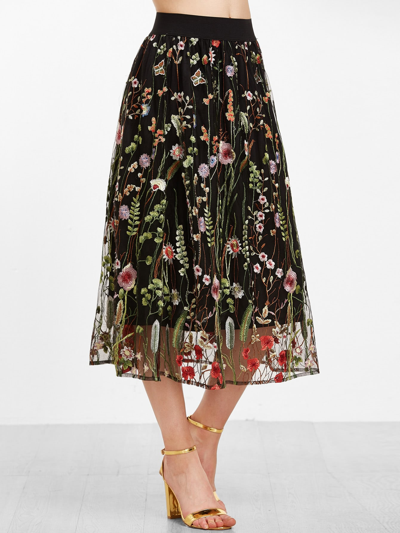 Floral Embroidered Mesh Overlay Tea Length Skirt Shein