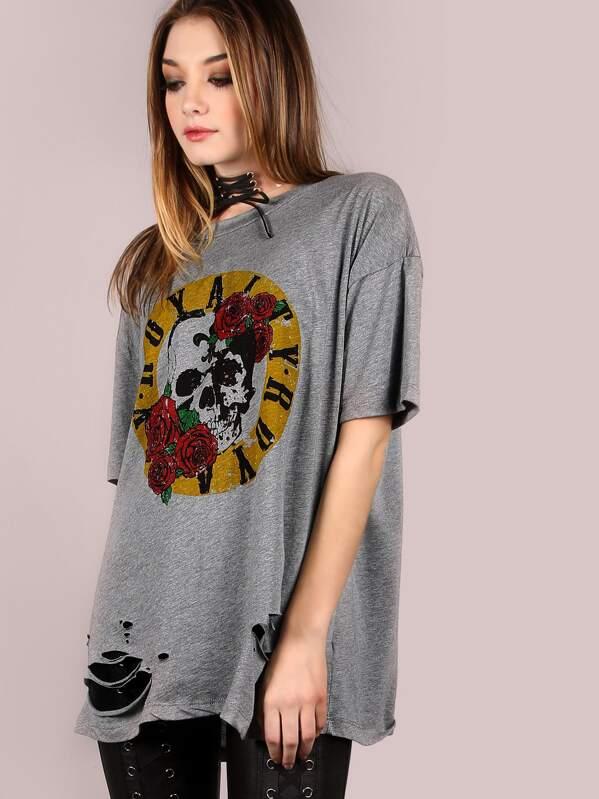 36943ec1a6fb3 t-shirt oversize à manches courtes avec imprimé - gris-French  SheIn(Sheinside)
