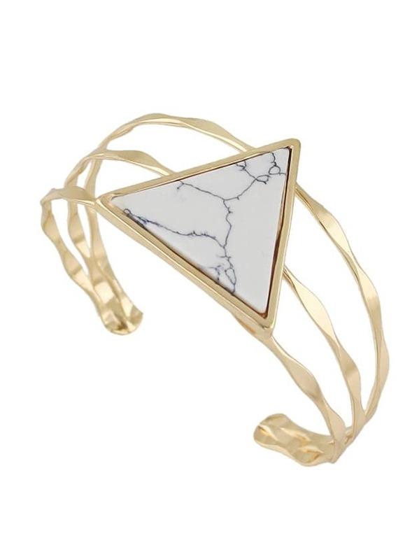 47511035c24e Brazalete abierto con piedra en forma triángulo - blanco
