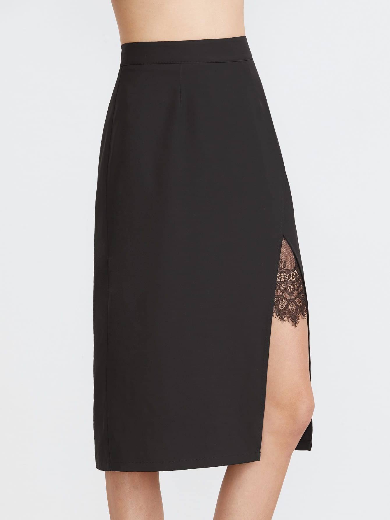 jupe de taille moyenne en dentelle inserte d chir devant noir french shein sheinside. Black Bedroom Furniture Sets. Home Design Ideas