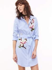 Vestito Camicetta Ricamato Con Cintura A Strisce - Blu Bianco