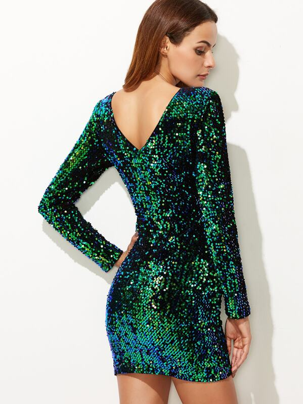07d38bfcd6 V Back Sequin Bodycon Mini Dress | SHEIN IN