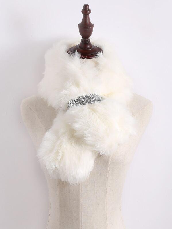 White Fur Stole >> Silver Sequin Tie Up White Faux Fur Stole