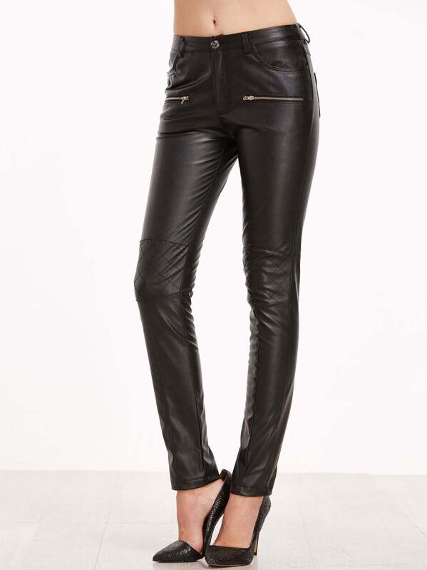 73a40fd9c8 Faux Leather Knee Quilted Skinny Pants | SHEIN