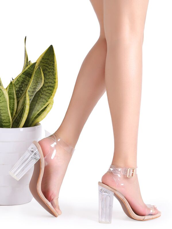 be51a1ba452 Clear Ankle Strap Peep Toe Heeled Sandals