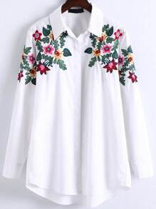 Blusa asimétrica con bordado floral - blanco