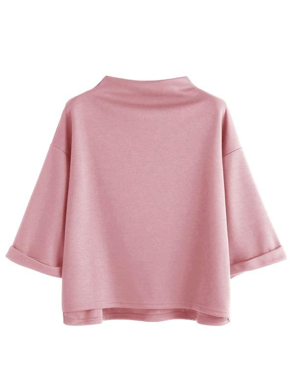7bc77a19 Mock Neck Drop Shoulder High Low Cuffed T-shirt   SHEIN