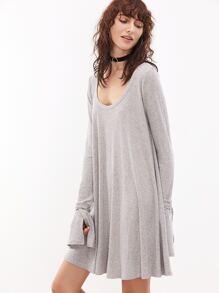 Grey Marled Scoop Neck Wrap Split Cuff Ribbed Dress