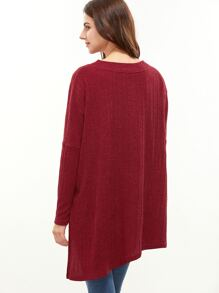 Red Drop Shoulder Zip Slit Front Asymmetric Ribbed T-shirt pictures