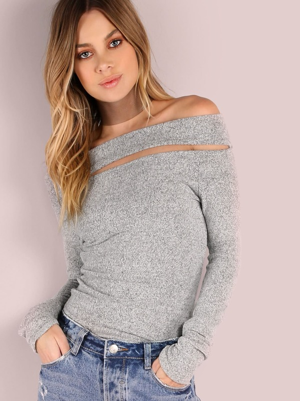 9d9076b52d Cheap Brushed Off Shoulder Top HEATHER GREY for sale Australia | SHEIN