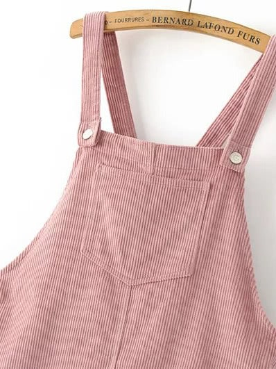 85a590583ce Pink Corduroy Overall Dress With Pocket