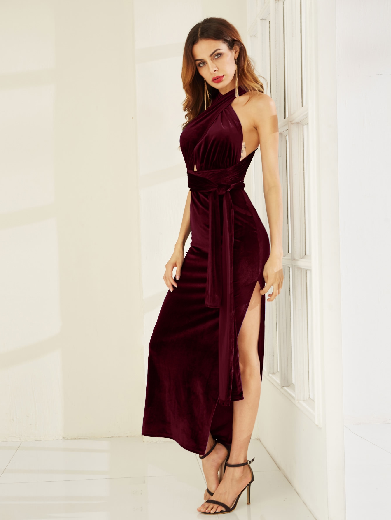 Robe fente haut velours convertible -bordeaux rouge -French SheIn(Sheinside)