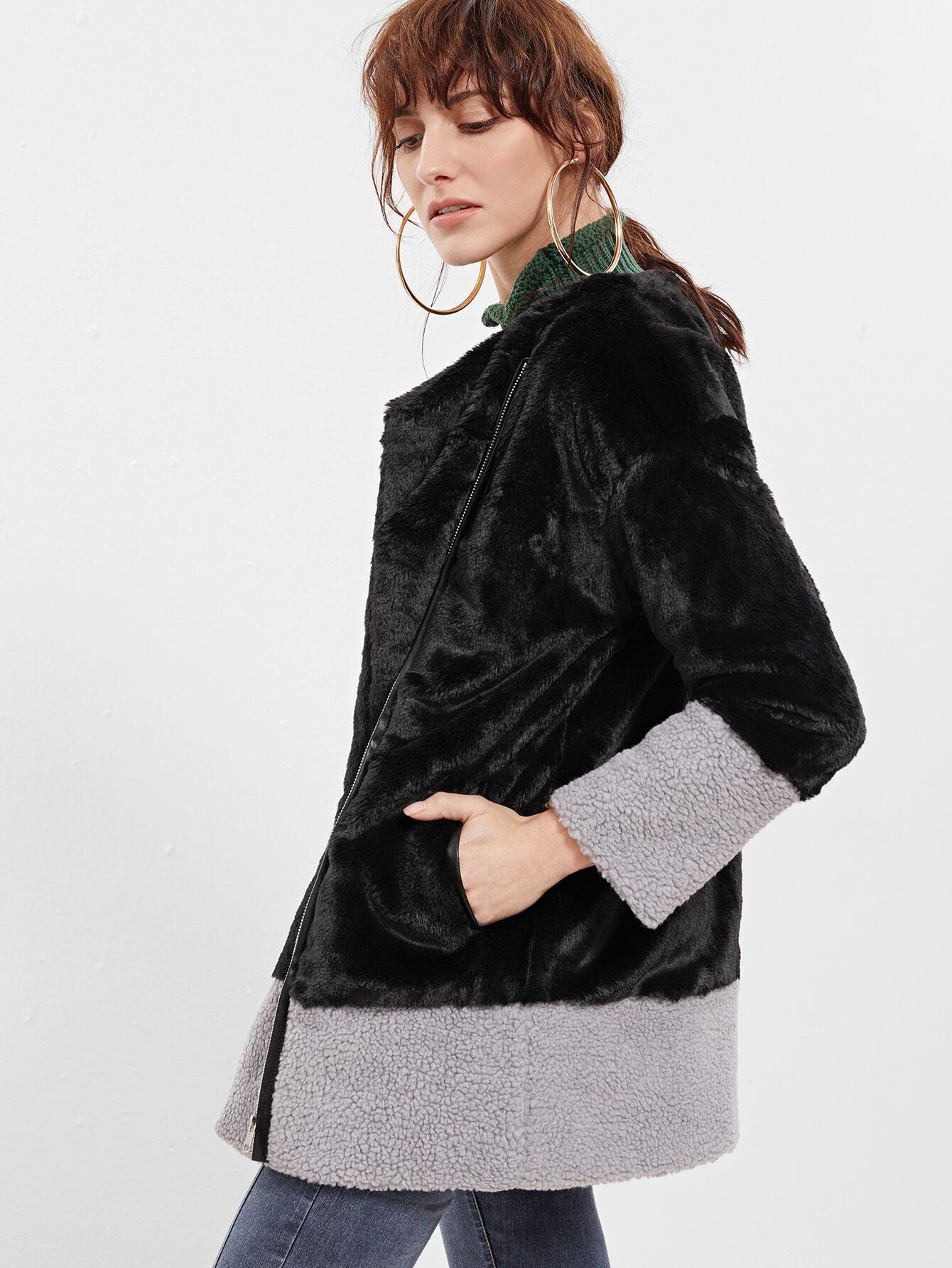 Color Block Collarless Zip Up Faux Fur Coat