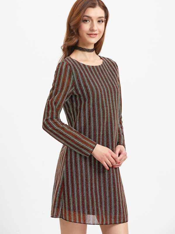 554b00af502 Kleid mit Vertikaln Streifen Schleife Hinten langarm-bunt