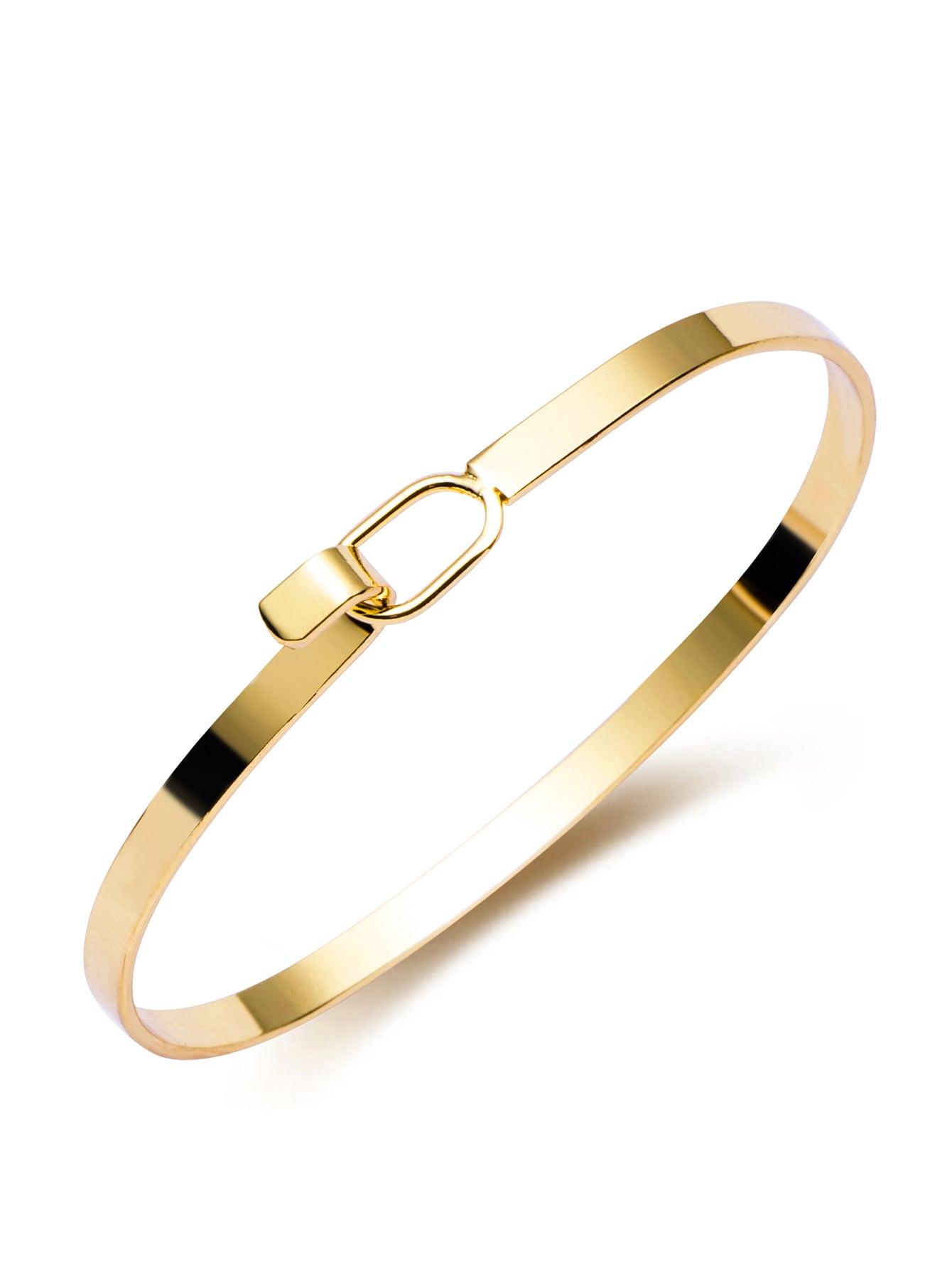 Gold Plated Buckled Minimalist Open Bracelet