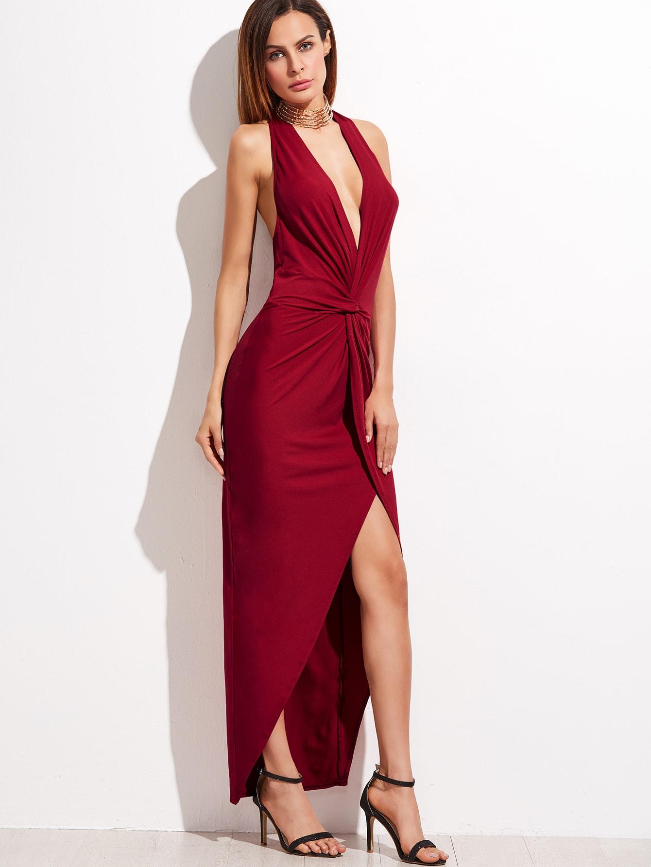 Burgundy Halter Plunge Neck Twist Front Open Back Dress -SheIn ...