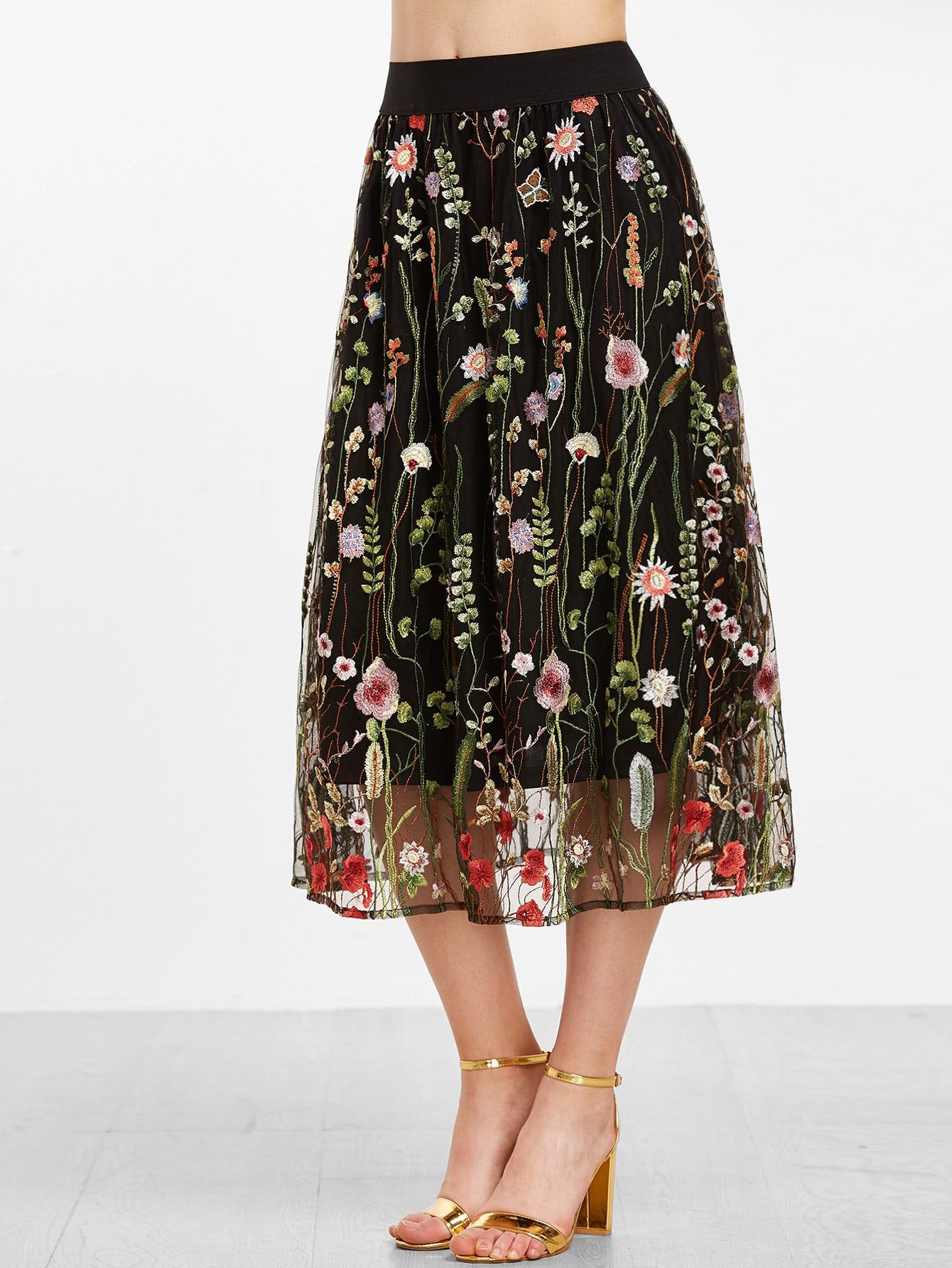 Floral Embroidered Mesh Overlay Tea Length Skirt Shein