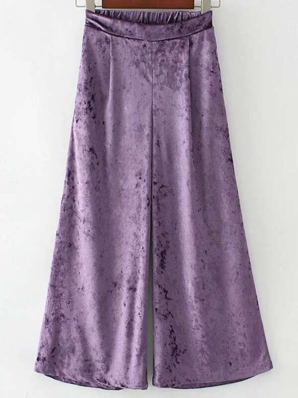 Jambe sheinside Velours French Pantalons Large Shein Violet qx6Ow4a45