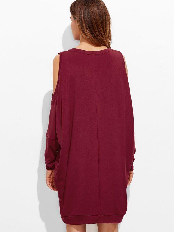 0f60fe4b241f Burgundy Open Shoulder Oversized Sweatshirt Dress