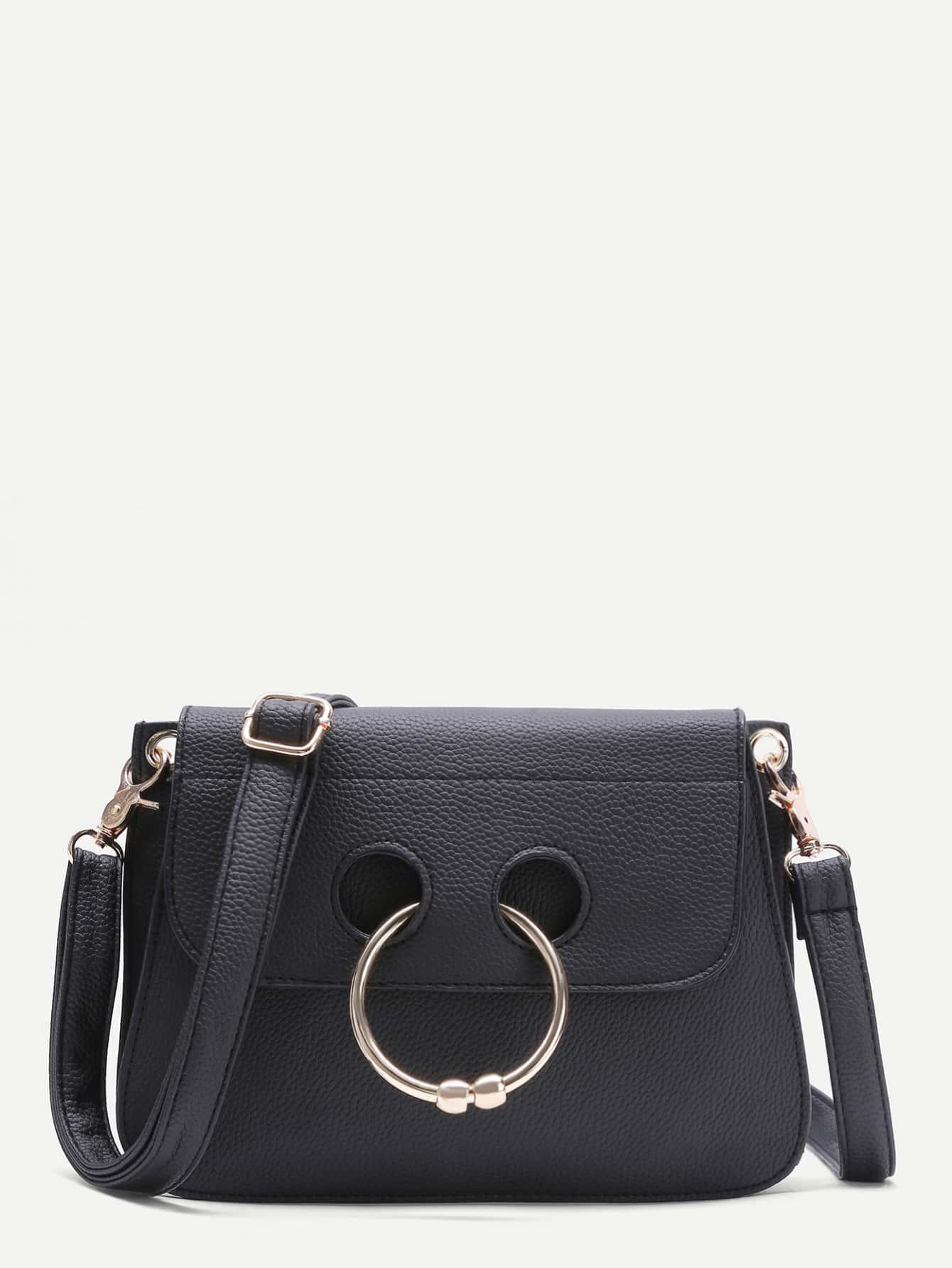 098b01aec Cheap Black Pebbled Leather Nose Ring Flap Shoulder Bag for sale Australia  | SHEIN