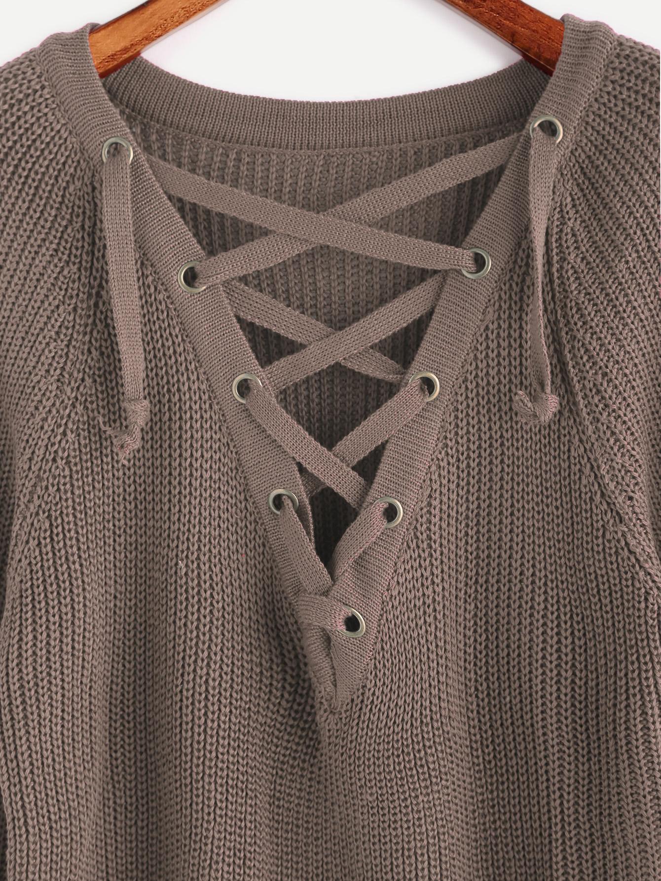 Khaki Eyelet Lace Up Slit Side High Low Sweater -SheIn(Sheinside) 19b61a113