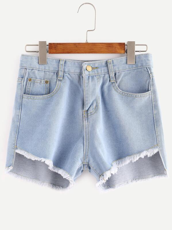 01d505215e Blue Asymmetrical Raw Hem Denim Shorts -SHEIN(SHEINSIDE)