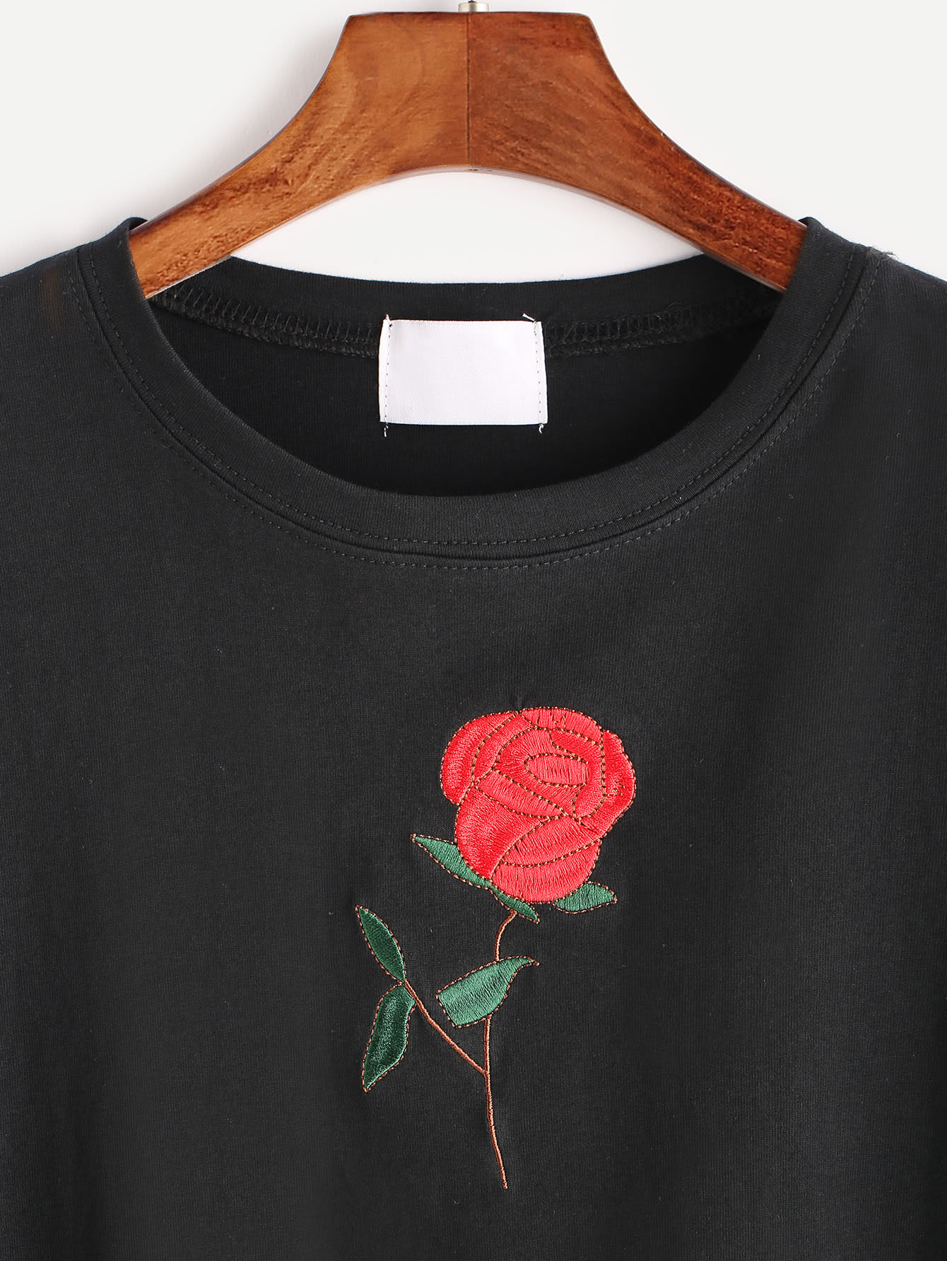 Black rose embroidered short sleeve t shirt shein sheinside