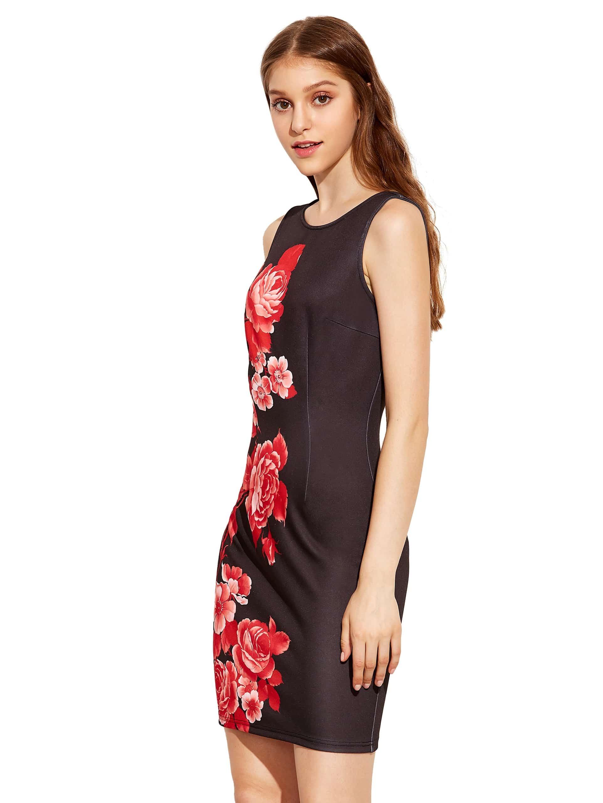 Black Sleeveless Vintage Print Dress -SheIn(Sheinside)