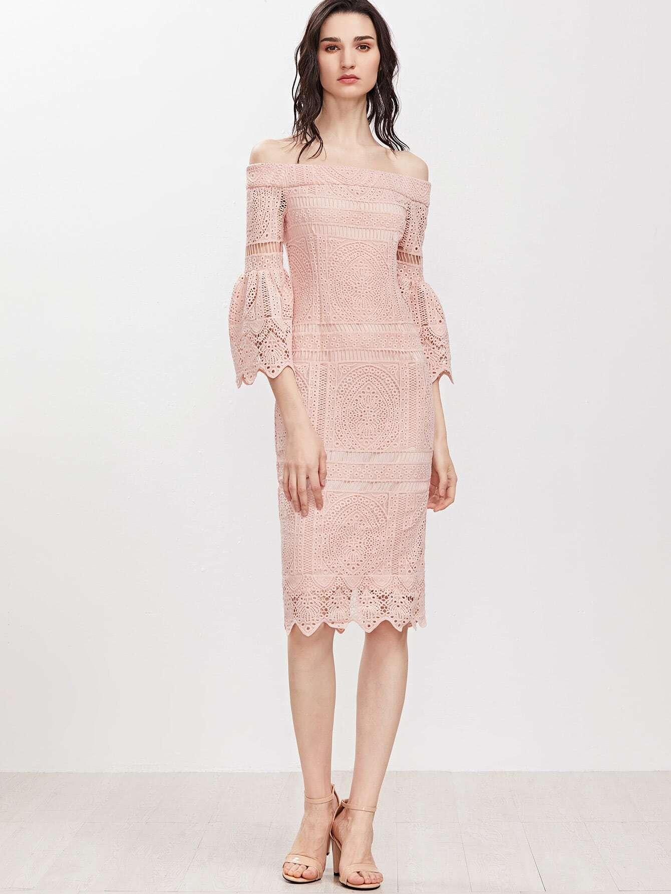 Vestido de croché con manga acampanada y hombros al aire - rosa ...