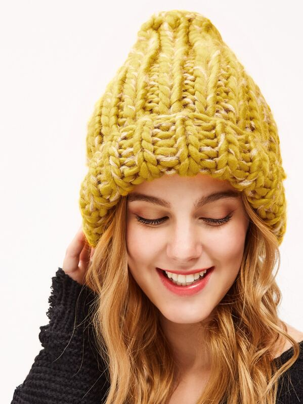 Yellow Cable Knit Fluffy Beanie Hat  7f96aa316d13