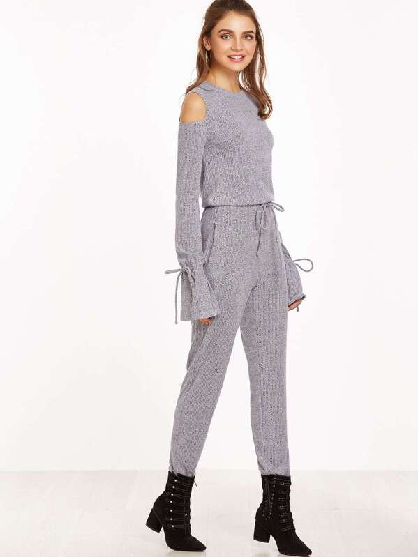 09a15eb5b65 Heather Grey Open Shoulder Drawstring Cuff And Waist Ribbed Jumpsuit ...