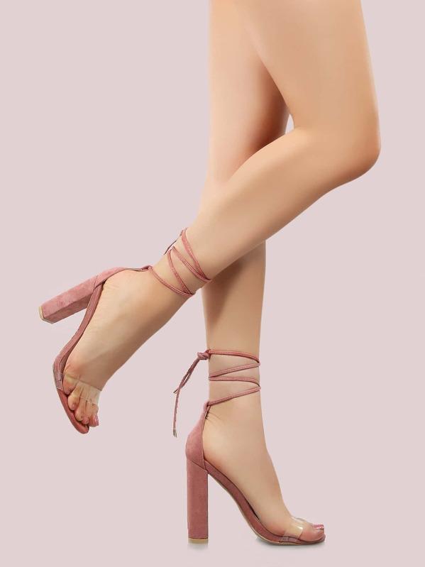 d6e5a38b013 Faux Suede Clear Strap Chunky Heels BLUSH