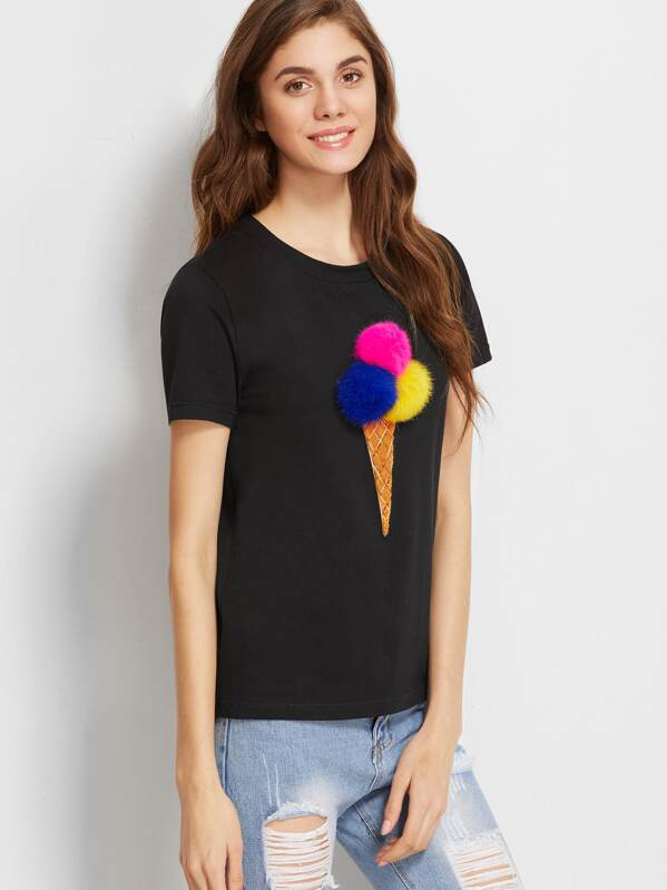 989774a0c2461d T-shirt mit Pailletten Bommel Ice Cream-schwarz | SHEIN