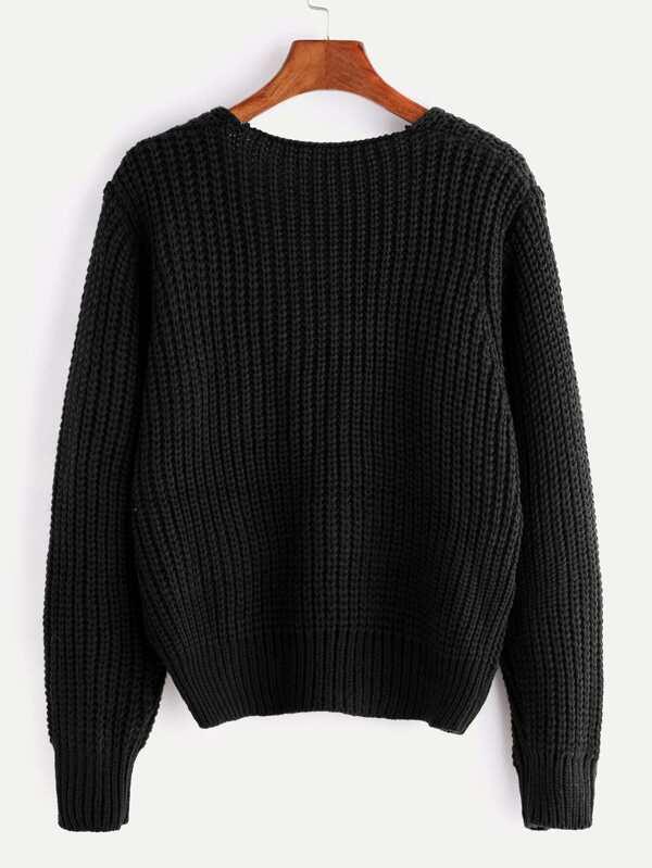 Jersey de punto grueso con cuello en V con cordones - negro -Spanish ...