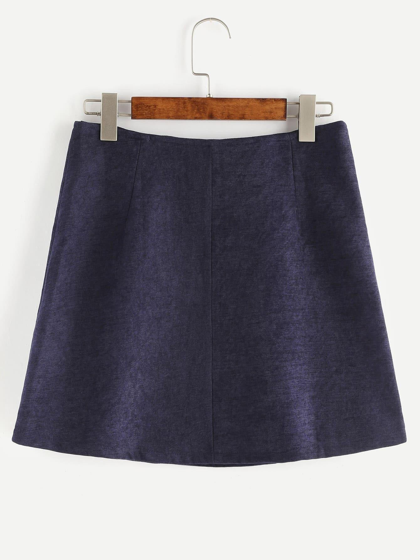 navy button up a line skirt shein sheinside