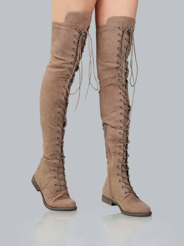 a8fdc22f3d21 Lace Up Flat Suede Boots TAUPE
