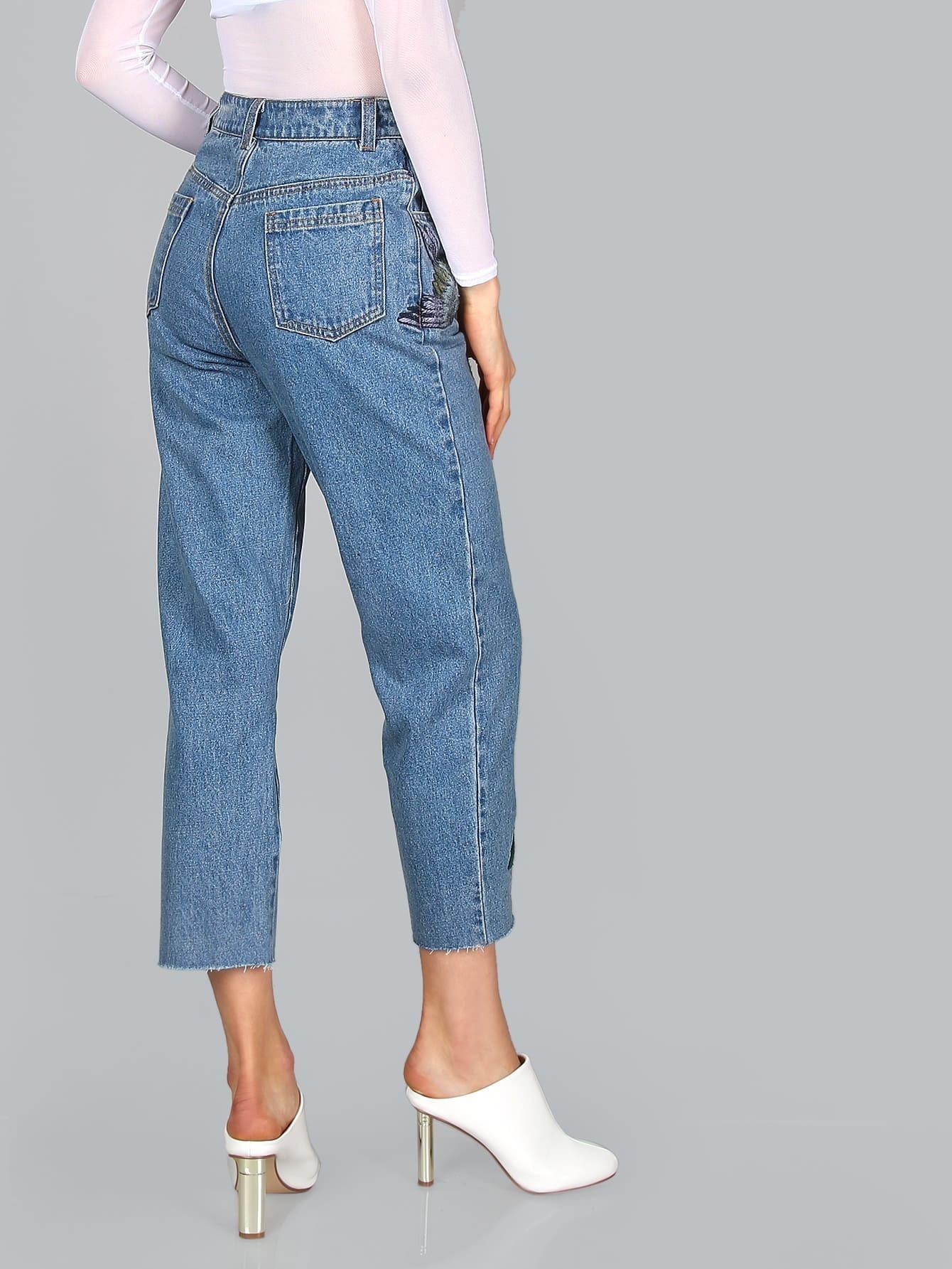Cropped embroidered jeans denim shein sheinside