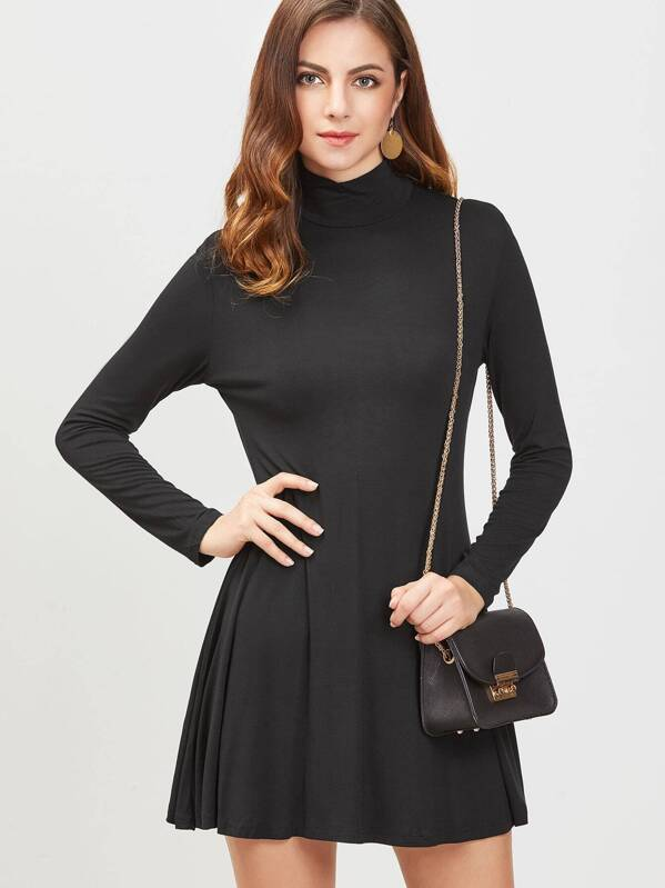 Black High Neck Long Sleeve A Line Dress Sheinsheinside