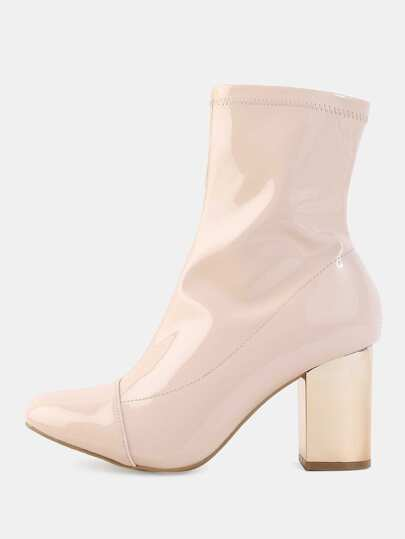 Pointed Toe Metallic Heel Booties NUDE