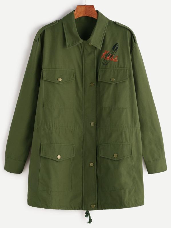 c2d2a6828afc0 Chaqueta con bordado y cordón en ribete - verde oliva -Spanish  SheIn(Sheinside)