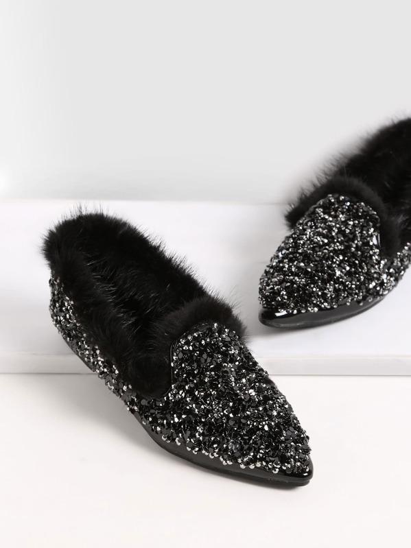 a2b8d3ec41 Black Sequin Point Toe Faux Fur Lined Flats | SHEIN