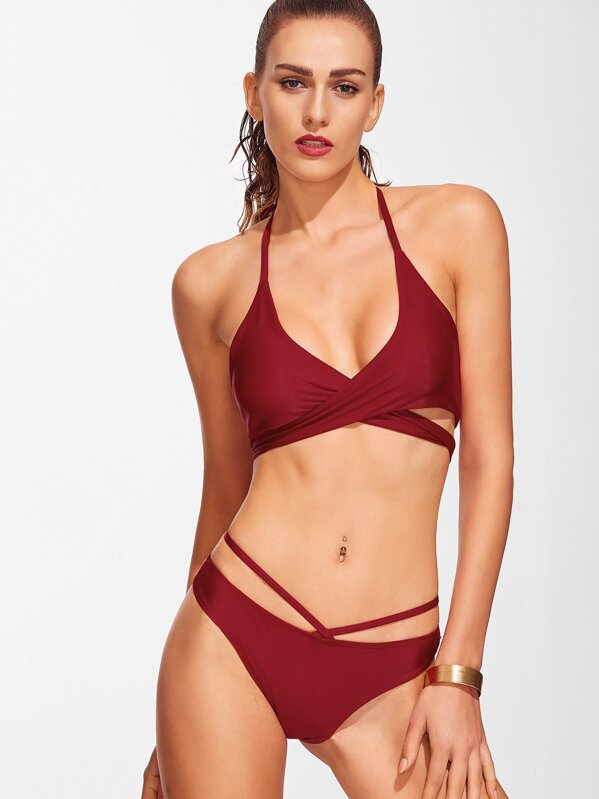 ecd700f989 Cross Front Lace-Up Halter Bikini Set | SHEIN